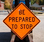 Construction sign - be prepared to stop