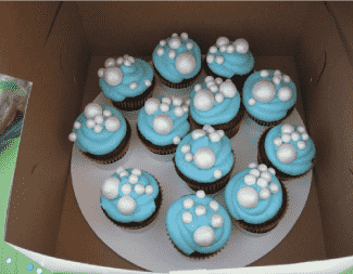 Bubble party cupcakes