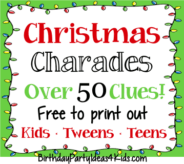 christmas charades ideas list