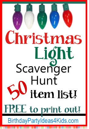 Christmas Light Scavenger Hunt List