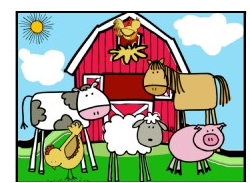 farm animals with barn