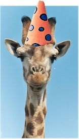 giraffe with an orange polka dot party hat