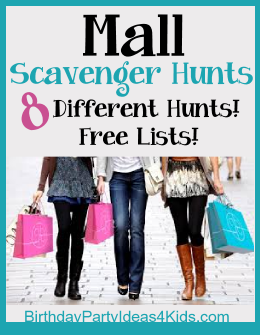 Mall Scavenger Hunts for kids, tweens and teens