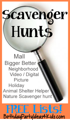 Scavenger Hunt Ideas for kids, tweens and teens