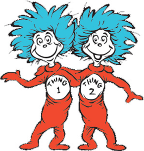 Thing 1 and Thing 2 with blue hair