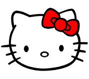 Hello Kitty face with a red bow