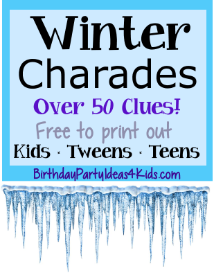 winter charades party game